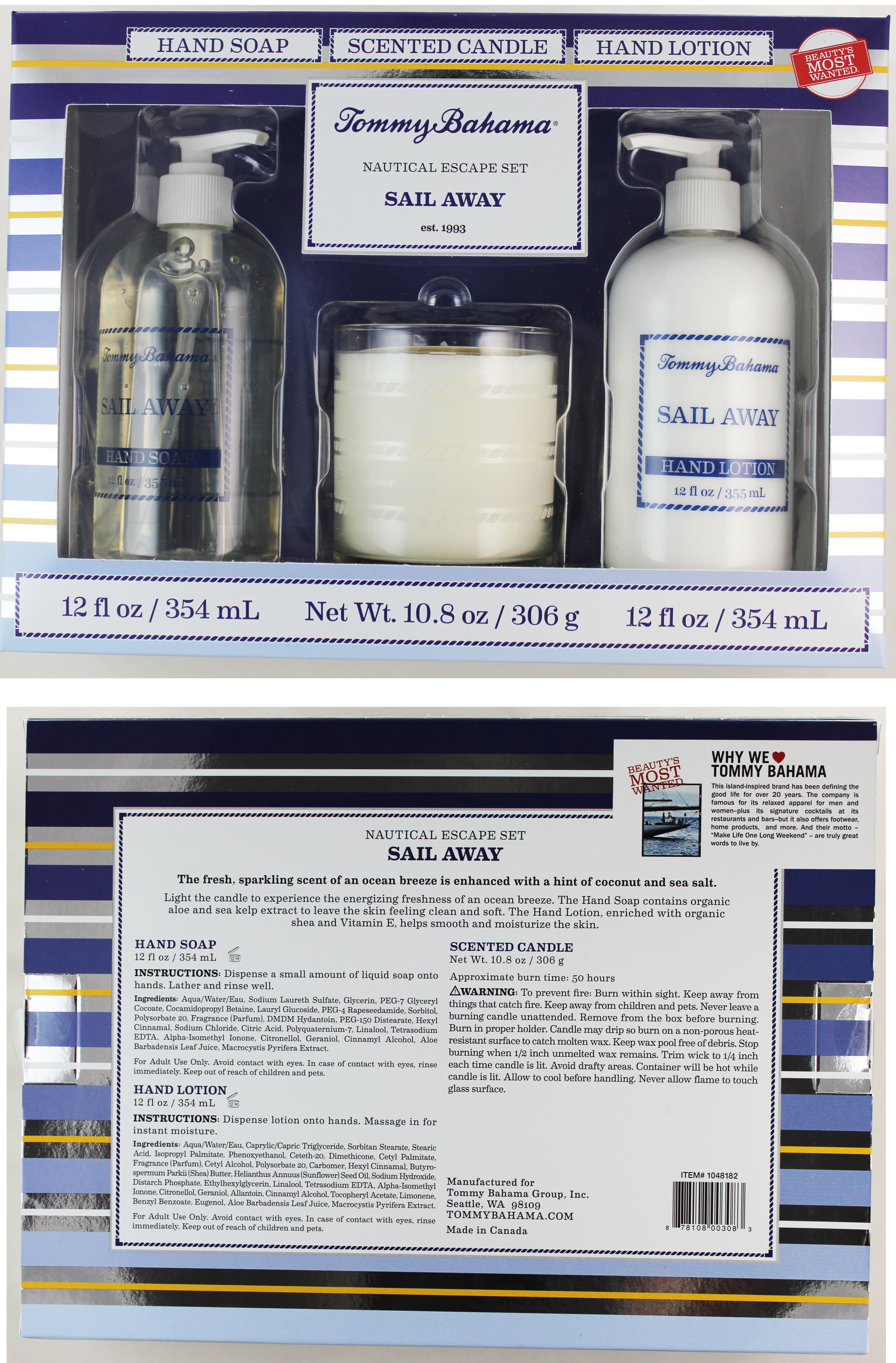 "Tommy Bahama Nautical Escape 3-Pack Set ""Sail Away"" Aromatic-Island Essences 1ct"