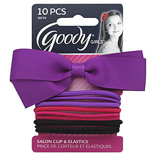 Salon Clip Grosgrain Bow with 9 Bonus Elastics