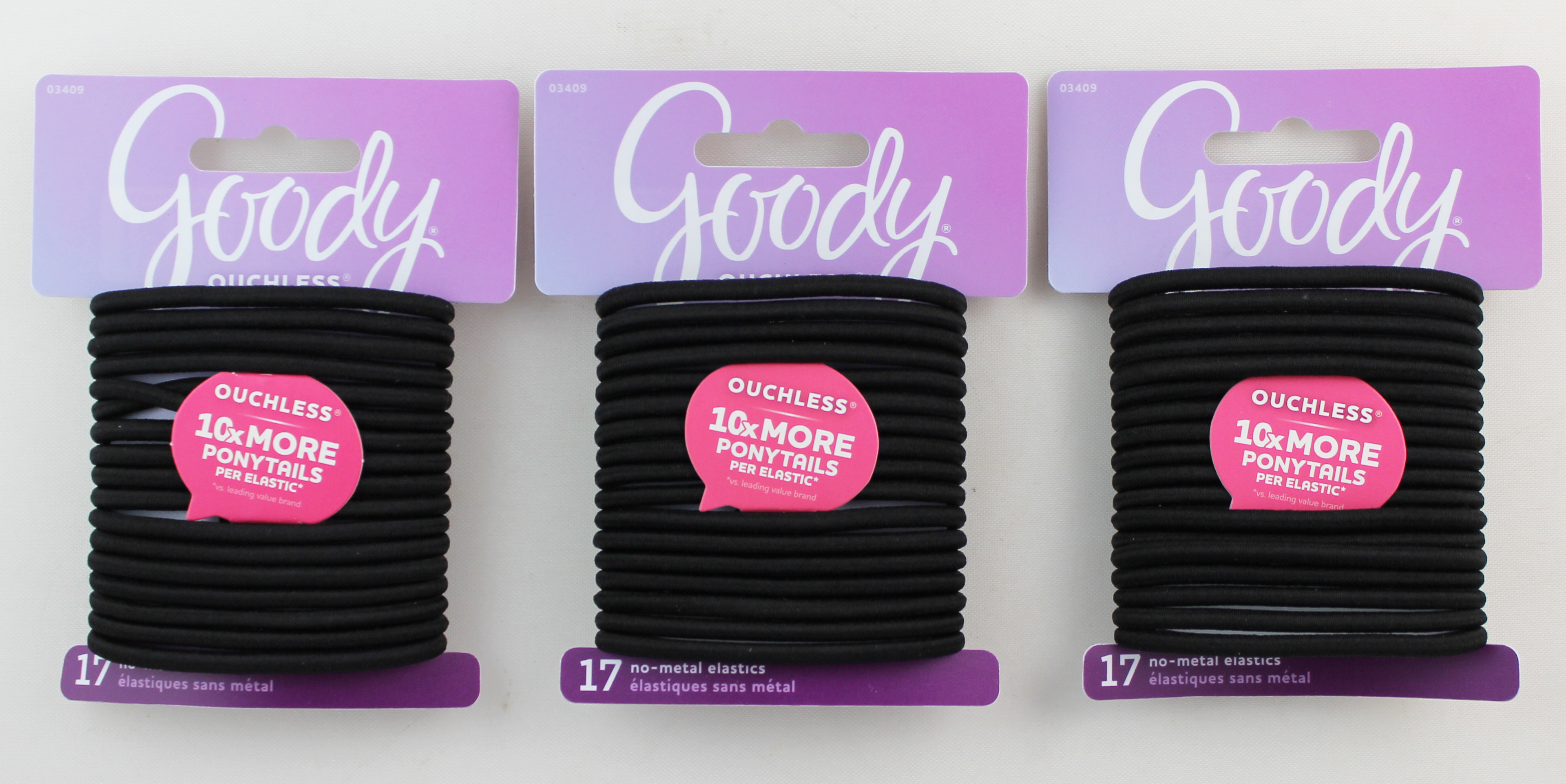 Gooody 4MM Ouchless Black Elastics 17 Count