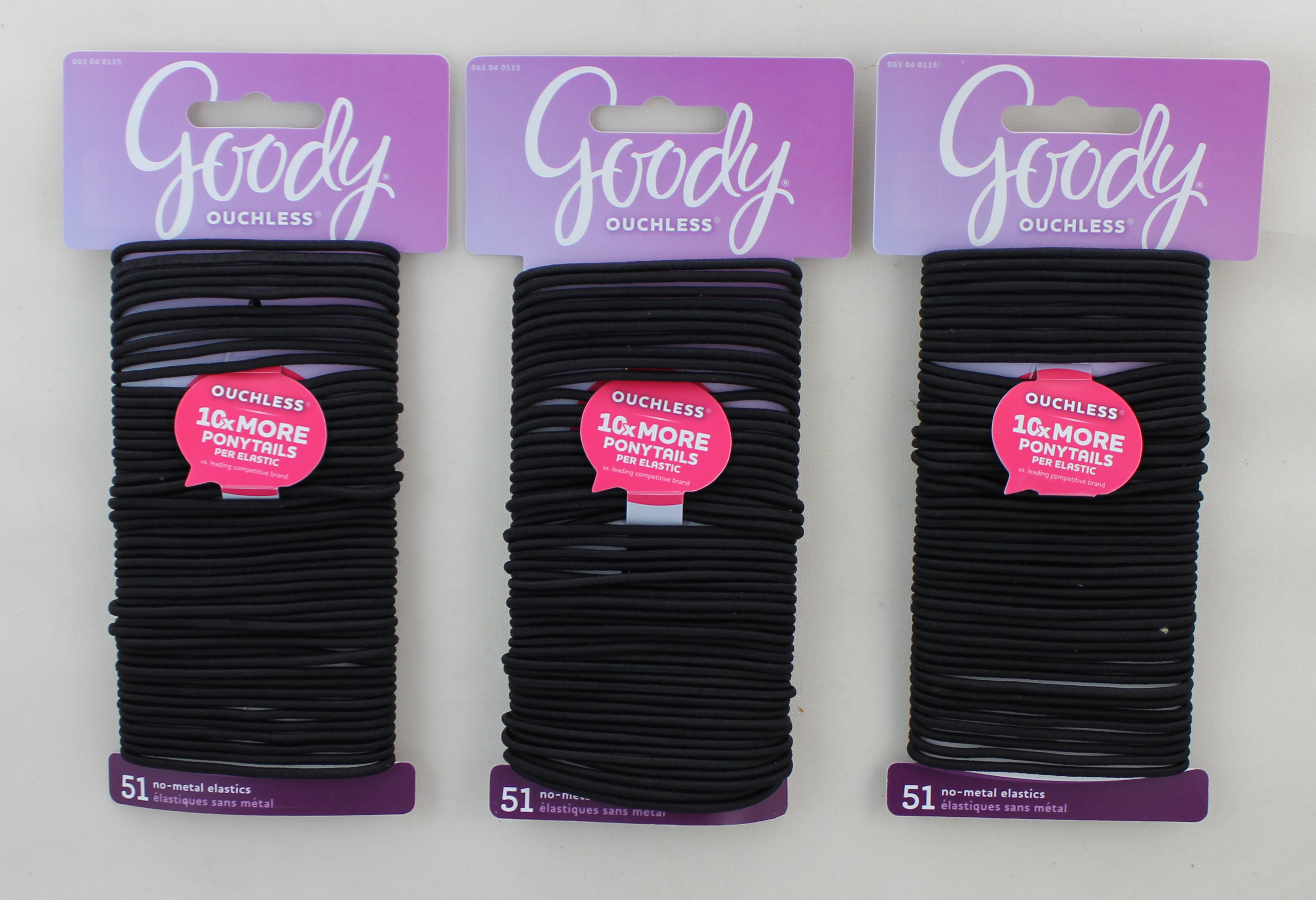 Goody Thin 2MM Black Elastics, Ouchless, NO Metal 51 Count Packs.