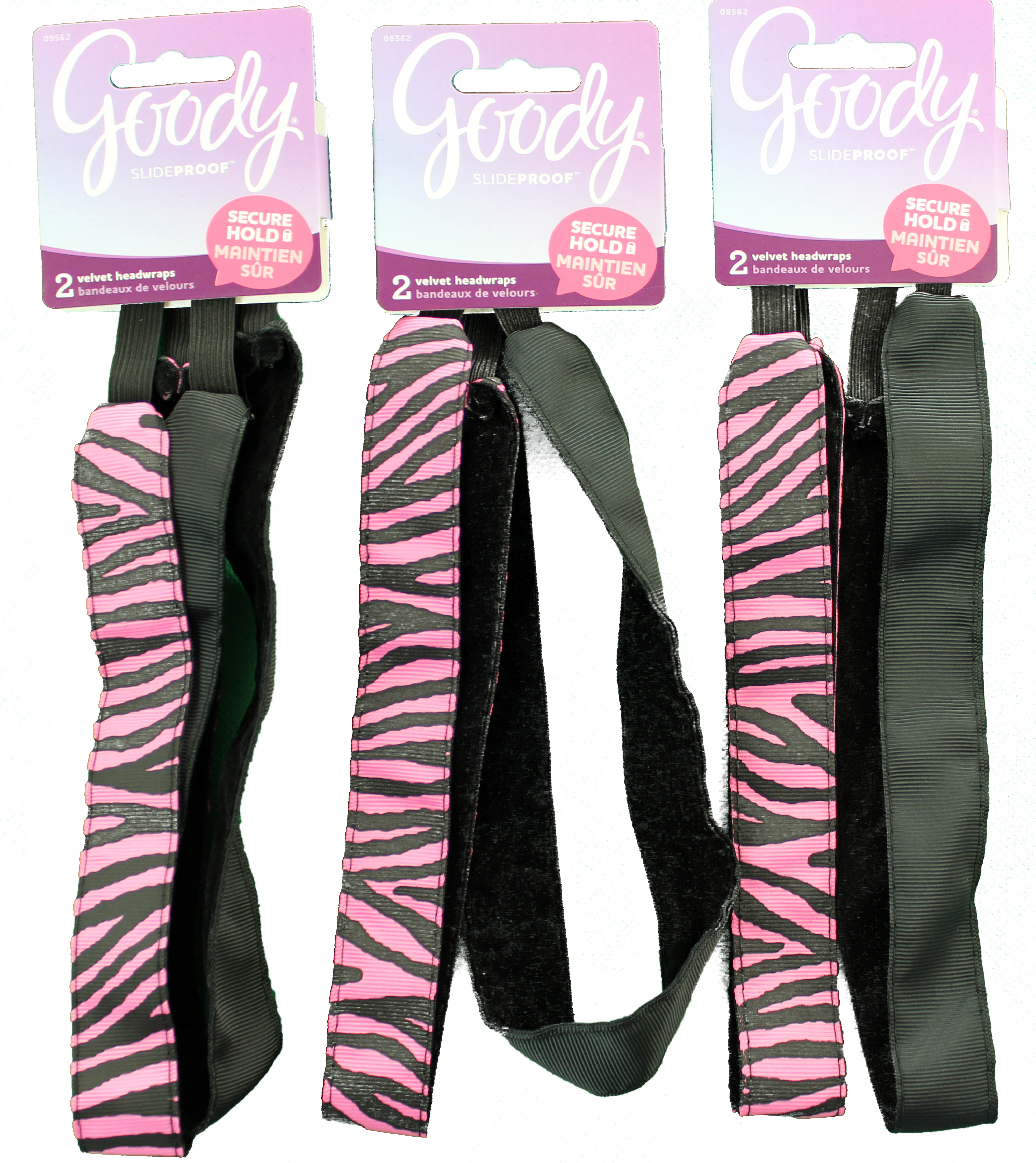 Goody Slide Proof Velvet Line Sports Headband Zebra Pattern, 1 CT