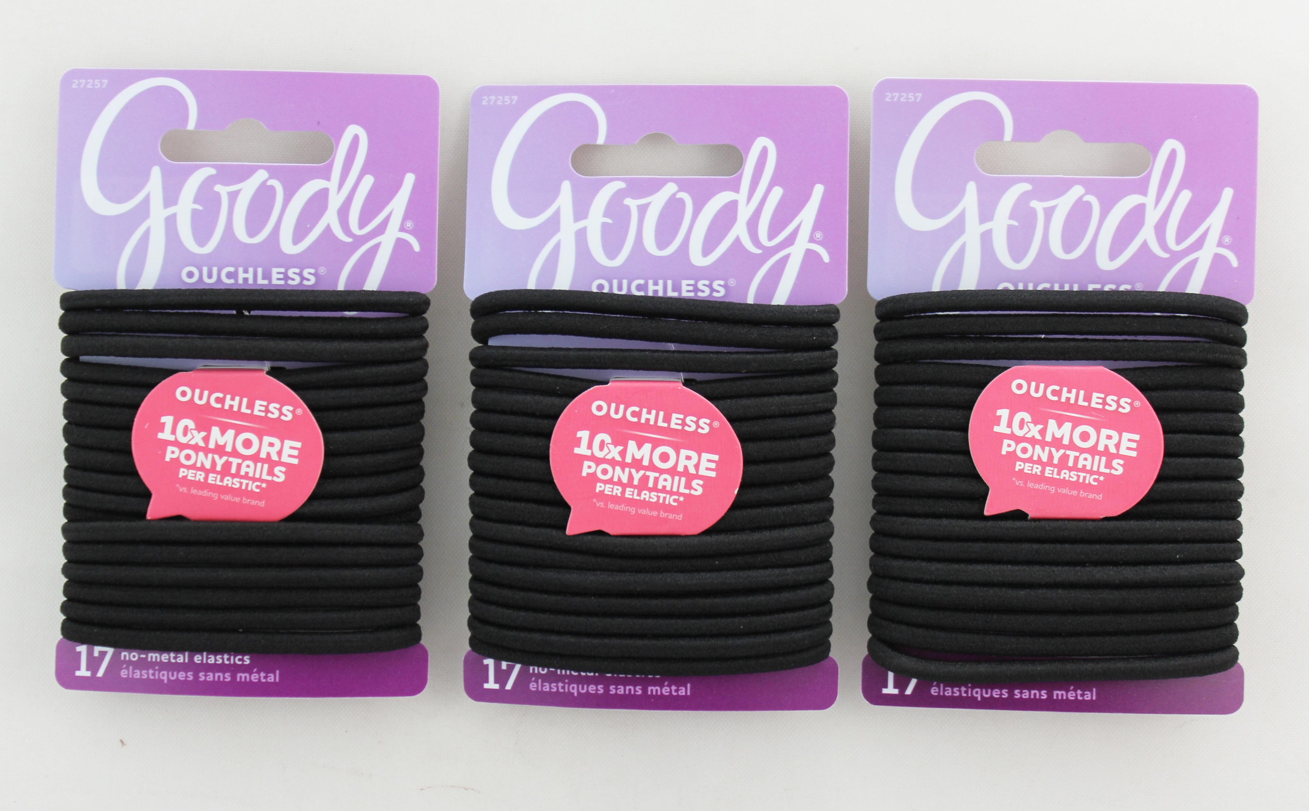 Goody Black Ouchless No Metal Elastics, 4MM, 17 Count