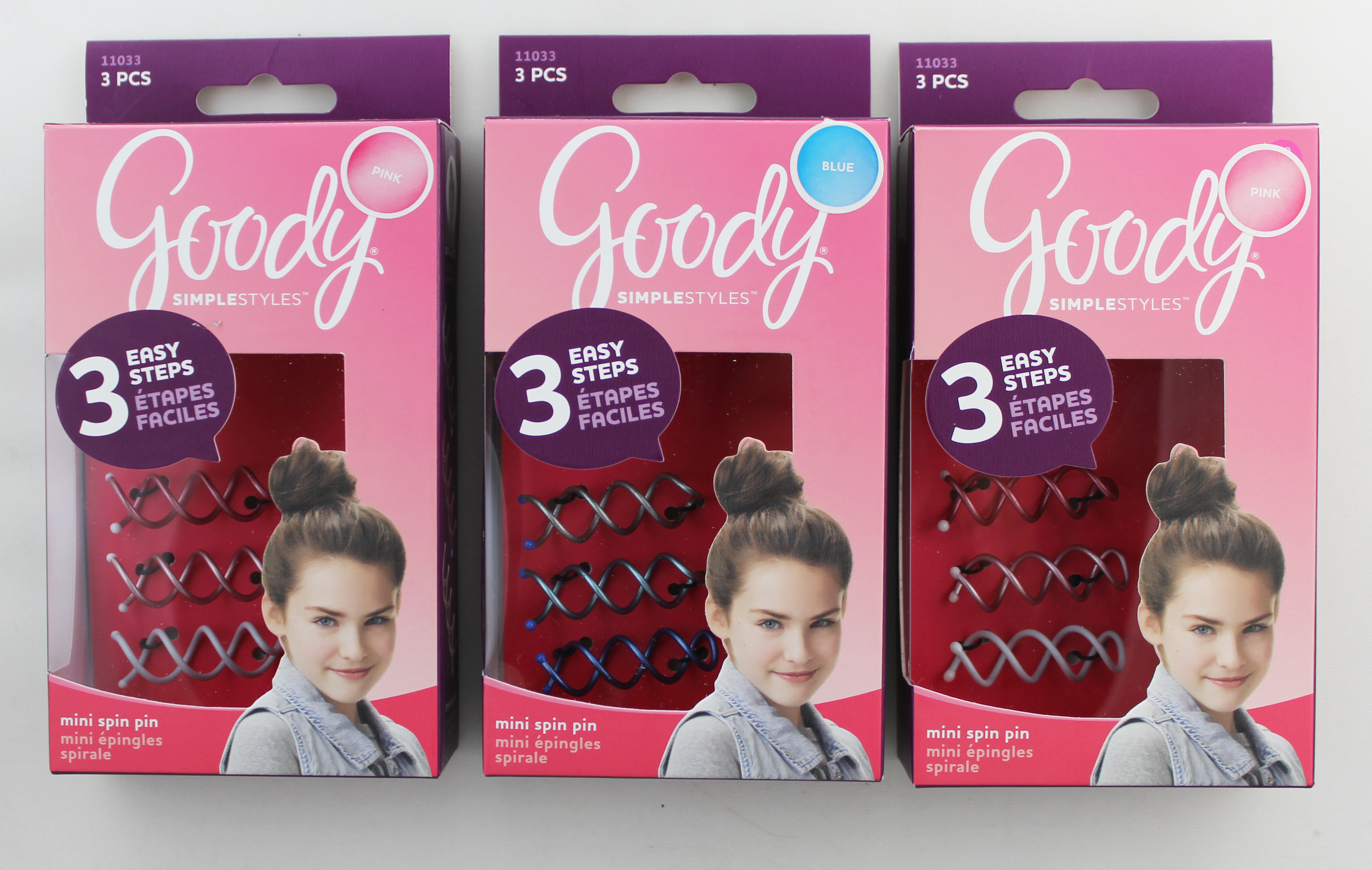 Goody Simple Styles Girls Mini Spin Pins 3CT in Blues & Pinks