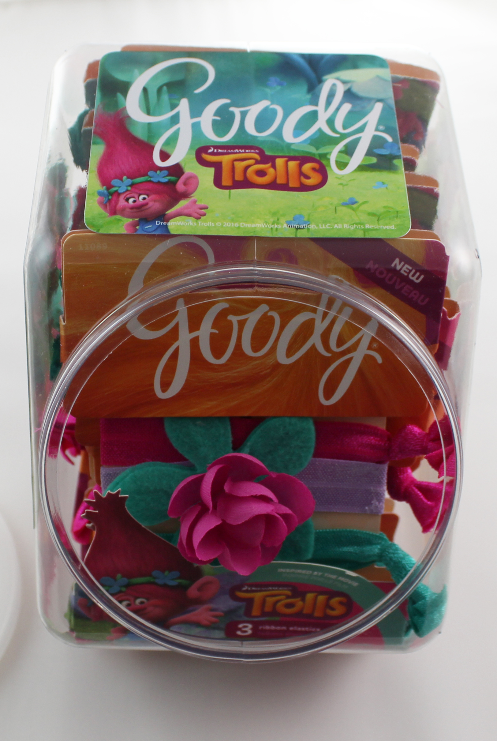 CHECKOUT CANISTER of 15 GOODY Girls Trolls Hugtime Ribbon Hair Elastics