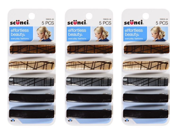 Scunci Barrettes Hair Clips 5 Count