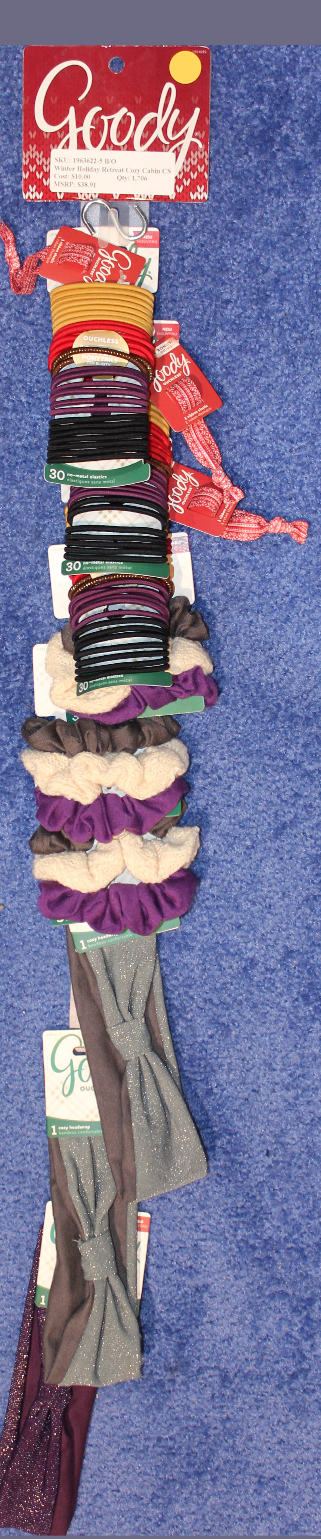 Goody Winter Elastics, Scrunchies, and Headwraps 9 Piece Clip Strip Assortment