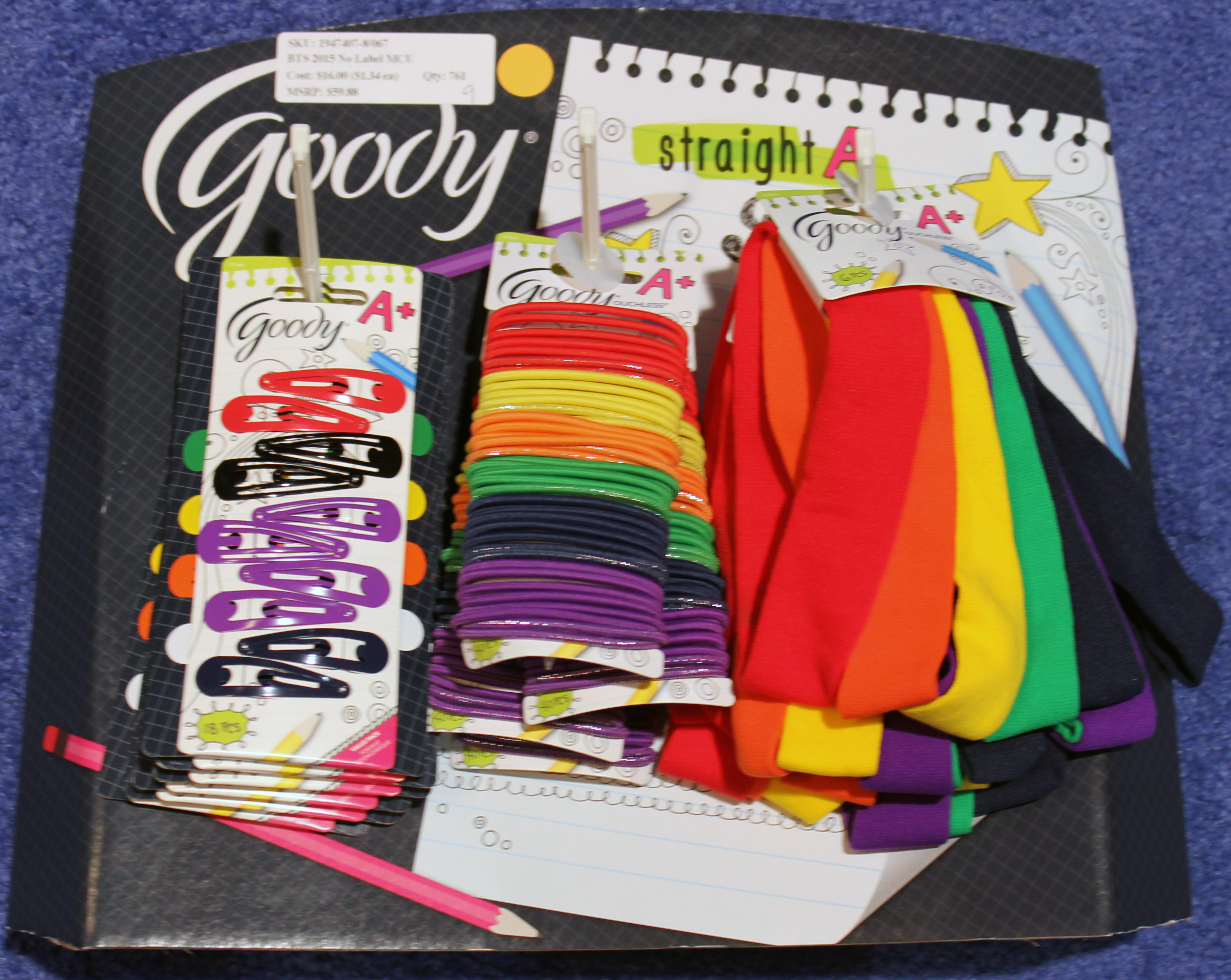 Goody Headwrap, Elastics, and Snap Clip 12 Units Counter Display