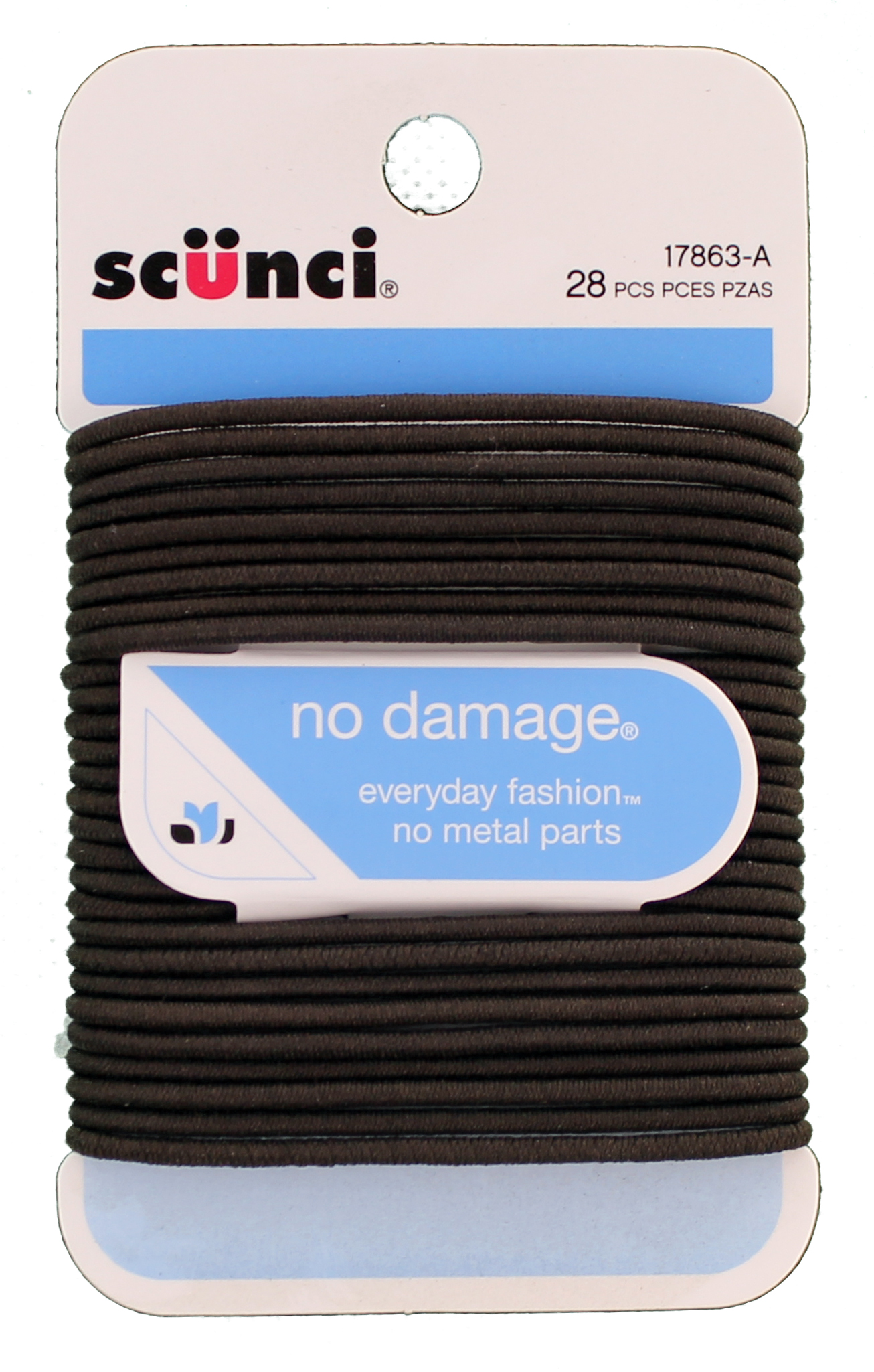 Scunci No Damage Hair Elastics, Medium, Black 28 EA