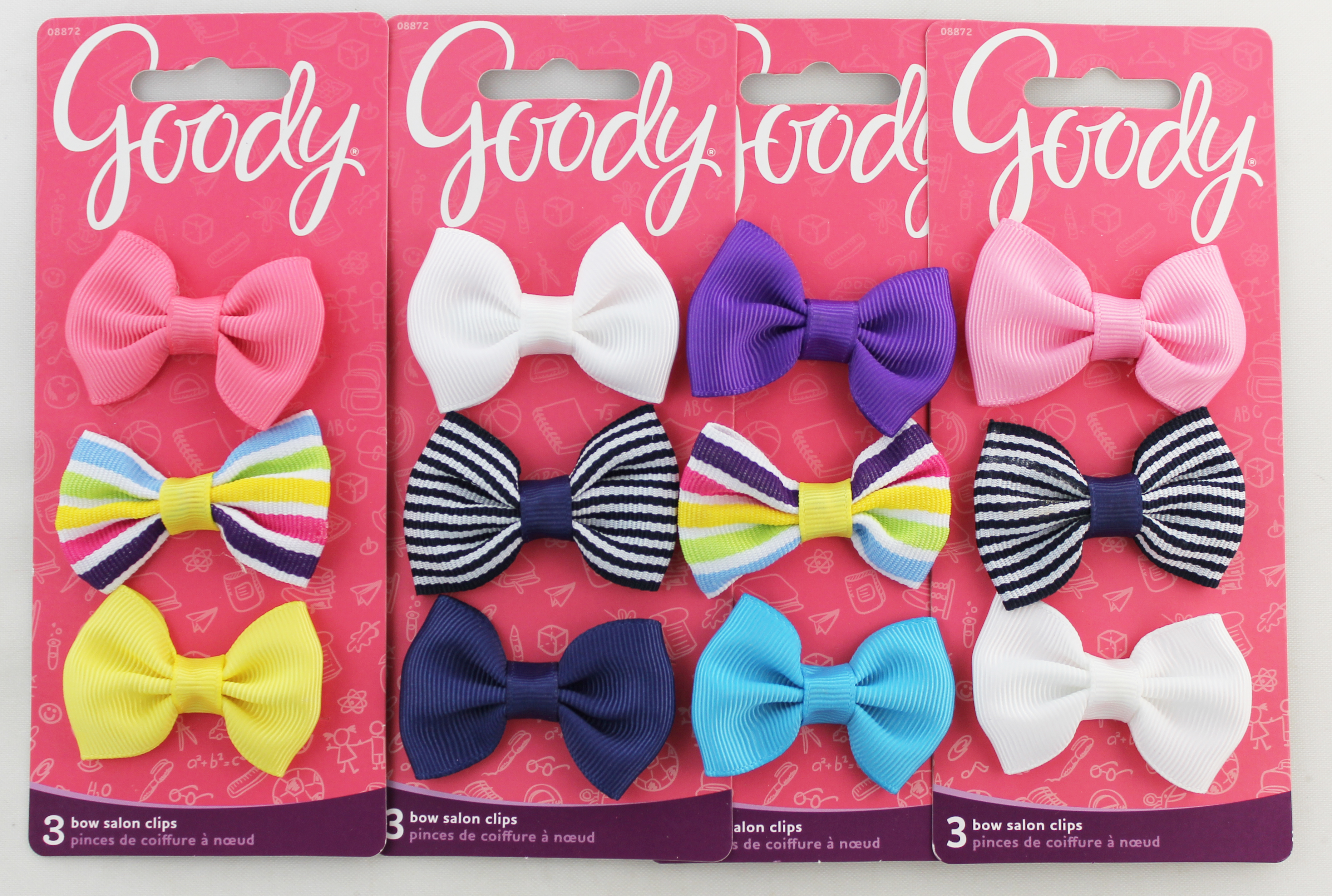 Goody 3ct Bow Salon Clips. Assorted Colors